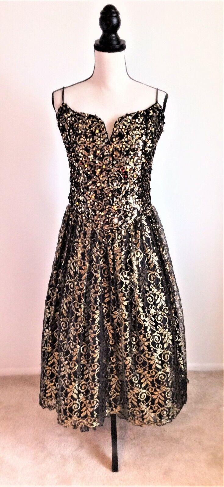 Jessica McClintock Gunne Sax Sequined Black/Gold Formal Evening Gown Dress 11/12