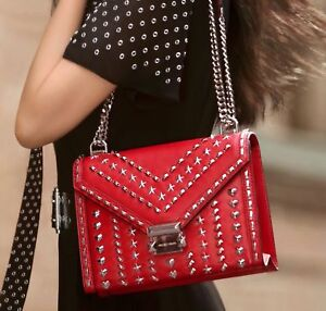 0c208e89ce7b Image is loading MK-Whitney-Studded-Leather-Convertible-Shoulder-100-Real-