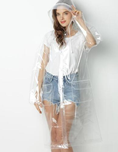 Transparenter Regenmantel Runway Style Frauen Mädchen Klar Stilvolle Regenjacke