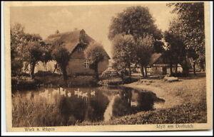 1932-Stempel-WIEK-auf-AK-Ruegen-Idyll-am-Dorfteich-Ortspartie-mit-Haeusern