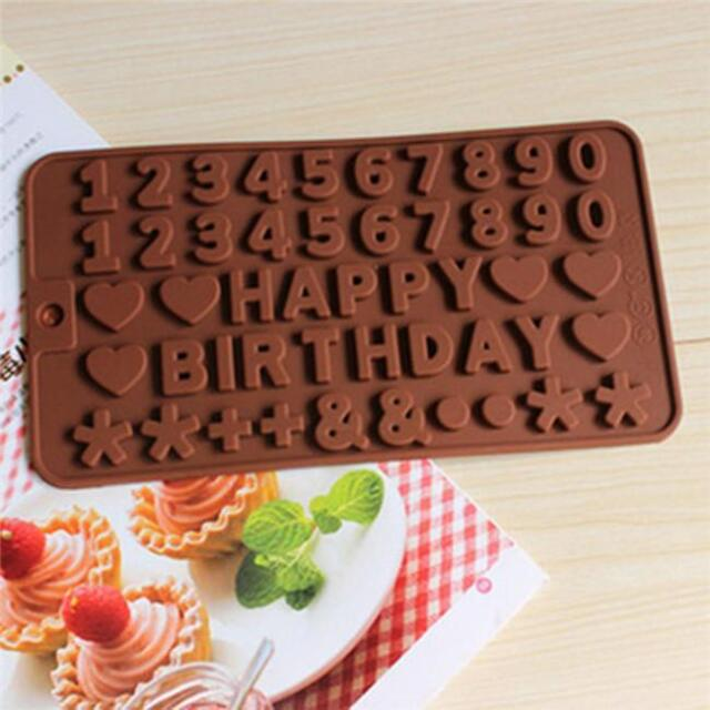 3Pcs Silicone Alphabet Number Letters Fondant Mold Pastry Cake Decor Bake Tool