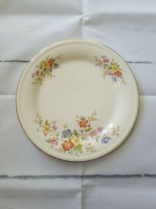 Edwin M Knowles China Co Semi Vitreous Dinner Plate 1940s Floral Spray Gold Trim