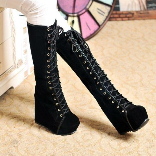 Fashion Ladies Goth High Platform Wedge Heels Lace Up Knee High Boots Shoes Size