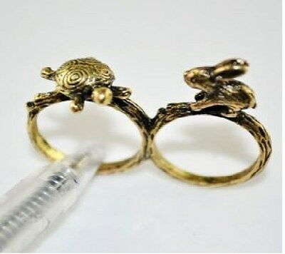 """R84 BETSEY JOHNSON Exquisite """"The Tortoise The Hare"""" Rabbit Turtle Dual Ring US"""