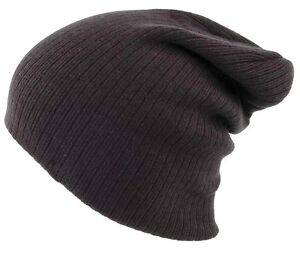 OVERSIZED-BEANIE-BOB-HAT-ribbed-knit-black-Mens-one-size-Super-stretch-S-XL