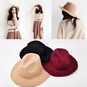 cf7e25b3fed Vintage Lady Womens Wide Brim Wool felt Hat Floppy Felt Bowler ...