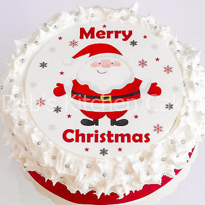 """Santa Cake Topper - Christmas Cake Decoration - 7.5"""" Round - Icing or Wafer"""