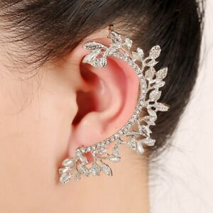 925-Silver-AAA-CZ-Hypoallergenic-Ear-Crawler-Cuff-Earrings-Climber-Studs-Leaf