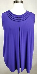 CATHERINES-WOMEN-039-S-BLUISH-EMBELLISHED-NECK-SLEEVELESS-TOP-PLUS-Sz-3X-26-28W