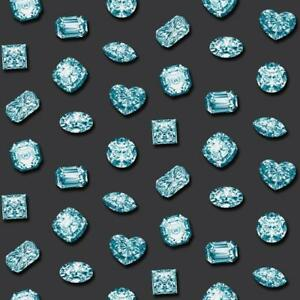 Details About 102519 Muriva Novelties Blue Crystals Diamonds Gems Dark Grey Black Wallpaper