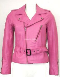 Kate zip Fashion 1 Giacca con Biker Style in Donna New Modello Pink pelle morbida D9IH2YebWE