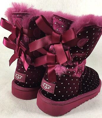 Ugg Girls Double Bailey Bow Velvet Polka Dot size 1 Lonely Hearts Pink Burgundy