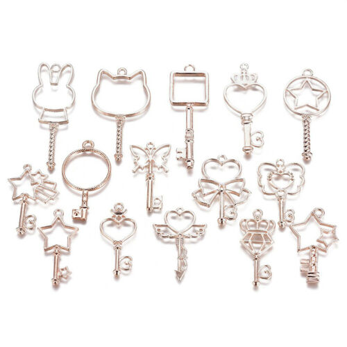 15pcs//Set Alloy Hollow Skeleton Key Charms Open Back Epoxy Resin Bezel Rose Gold