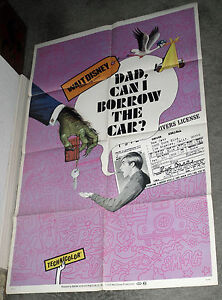 DAD CAN I BORROW THE CAR original 1970 DISNEY movie poster KURT RUSSELL OneSheet