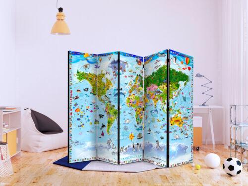Raumteiler für Kinder Weltkarte Deko Paravent Trennwand Kinderzimmer e-A-0102