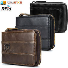 Mens Luxurious 100/% Genuine RFID Bifold Leather Wallet With Zip Cash Coin Pocket