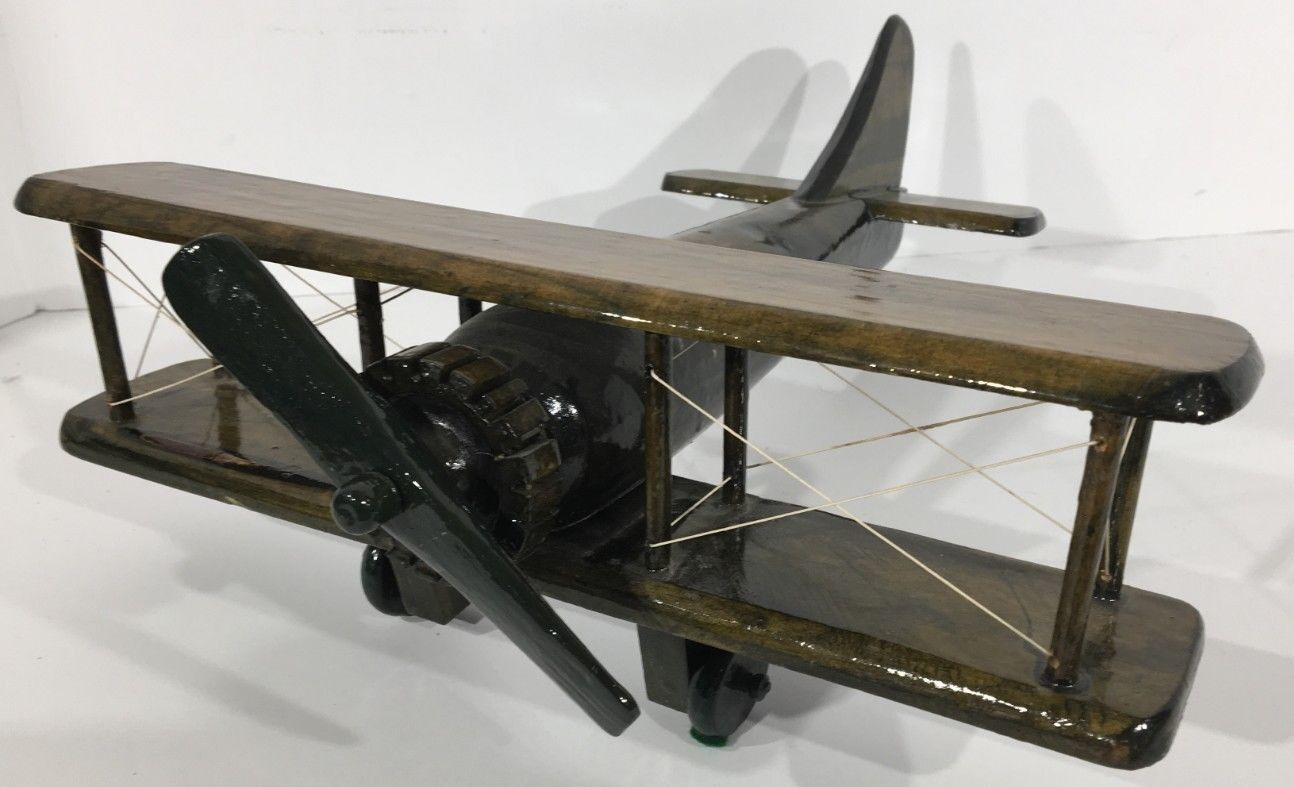 Rare Large Hand Crafted Vintage Bi-Wing Plane Wooden Heavy Lacquered