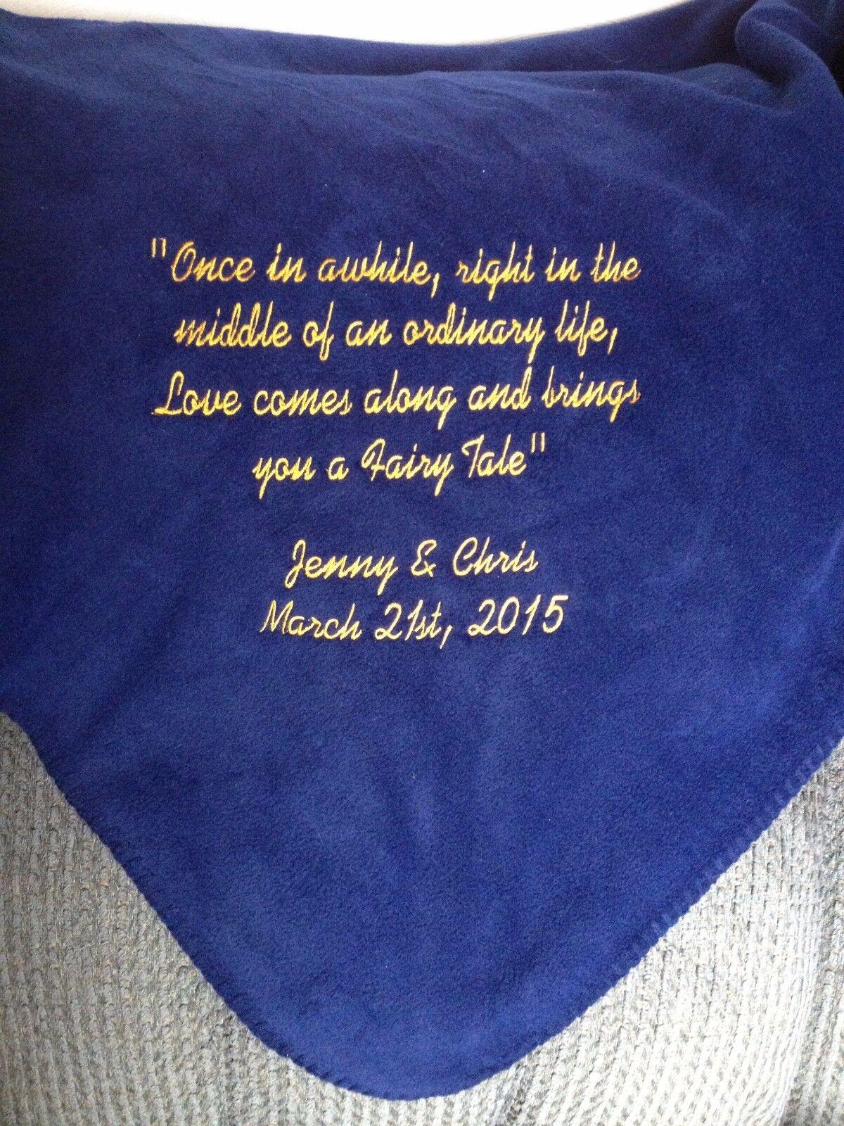 Personalized Bride Groom Wedding Gift Bridal Shower Fleece Throw Blanket