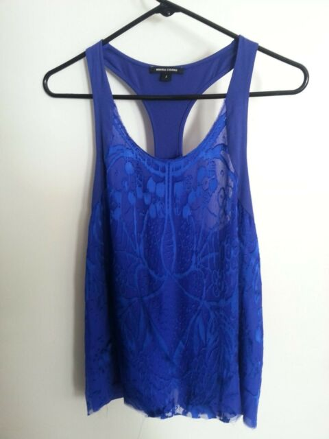 NEW $240 authentic MONIKA CHIANG Silk and Jersey Burnout Racer Tank Blue, S