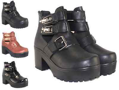 WOMEN LADIES WALKING LACE BIKER BUCKLE ANKLE PUNK CUT OUT CHELSEA BOOTS SIZE 3-8