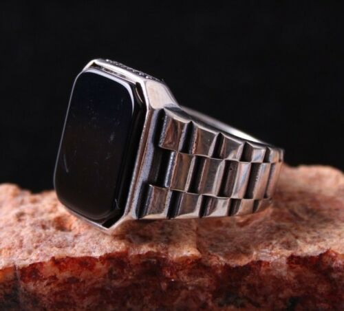 Turkish 925 Sterling Silver Clock black onyx stone mens man ring ALL SİZE us