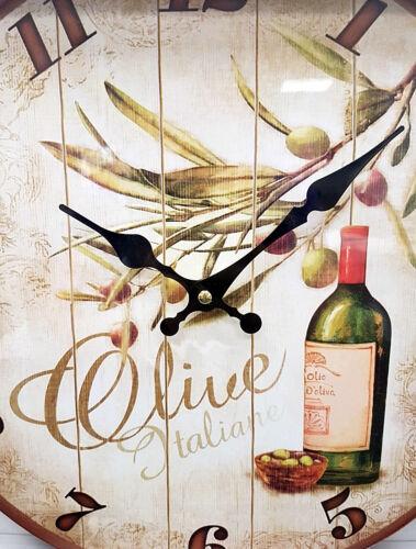 Italienische Wanduhr Uhr mediterrane Wanddekoration Küchenuhr Deko OLIVEN 33cm