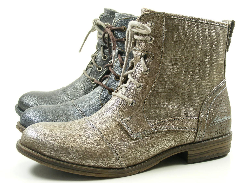 Mustang 1157-549 Schuhe Damen Stiefeletten Metallic Schnür Stiefel