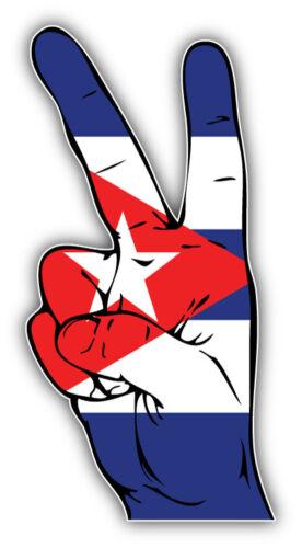 Cuba Flag Hand Peace Sign Car Bumper Sticker Decal /'/'SIZES/'/'