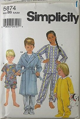 SIMPLICITY 5874 Uncut Pattern Size BB 3 4 5 6 Kids Sleepwear Pajamas 2002 New