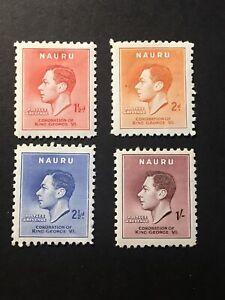 1937-NAURU-POSTAGE-STAMPS-CORONATION-OF-KING-GEORGE-VI-MINT-4-VALUES