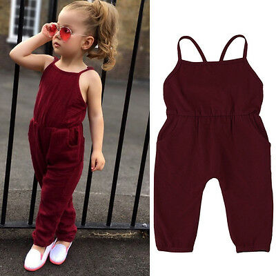 Toddler Kids Baby Girls Summer Strap Romper Jumpsuit Harem Pants Outfits Clothes