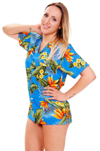 Größen Hawaiishirt Unisex Funky Hawaiibluse Strelitzie Hellblau versch