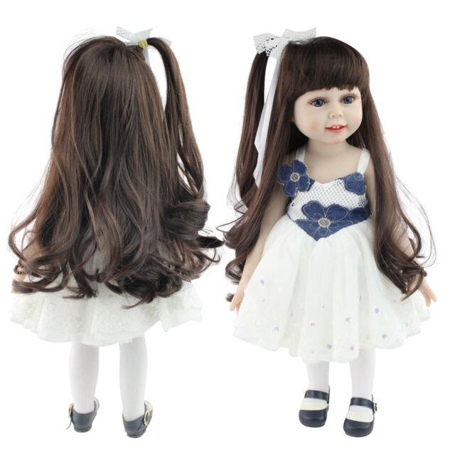 "22/"" Reborn Baby Doll Girl Soft Vinyl Real Life Newborn Long Wig Toddler Dolls"