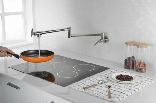 Wall Mount Folding Pot Filler Kitchen Faucet Stretchable Double Joint Swing Arm