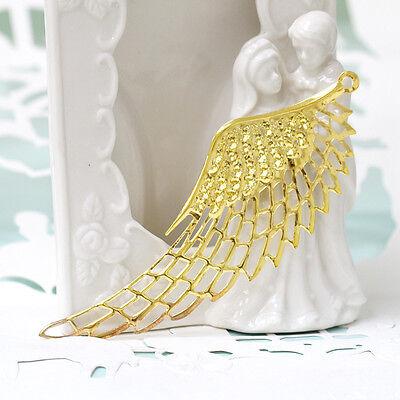 Gold angel wings charms metal pendant filigree stamping 110x35mm 6PCS (1-21-137)