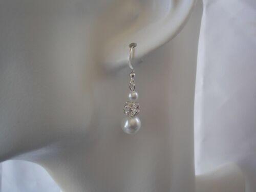 Perla y allanar Diamante dejar pendientes para mujeres Bridesmaids Novias Boda 44H