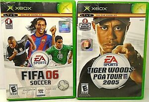 Lot-of-2-Microsoft-XBOX-Games-FIFA-06-SOCCER-also-TIGER-WOODS-PGA-TOUR-2005