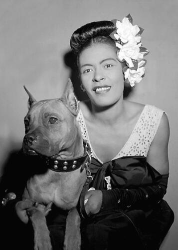 Photo Print 5x7 Vintage Photo .. Jazz Singer Billie Holiday w// Her Dog Misty.