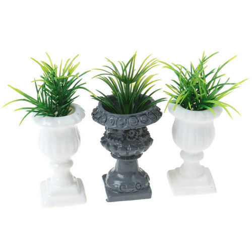 1:12 Dollhouse Miniature Simulated Roman Column Potted Plant Garden Ornament Toy