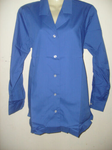 ladies smart blue long sleeve blouse top Office casual Size 8 10 12 24 26 NEW