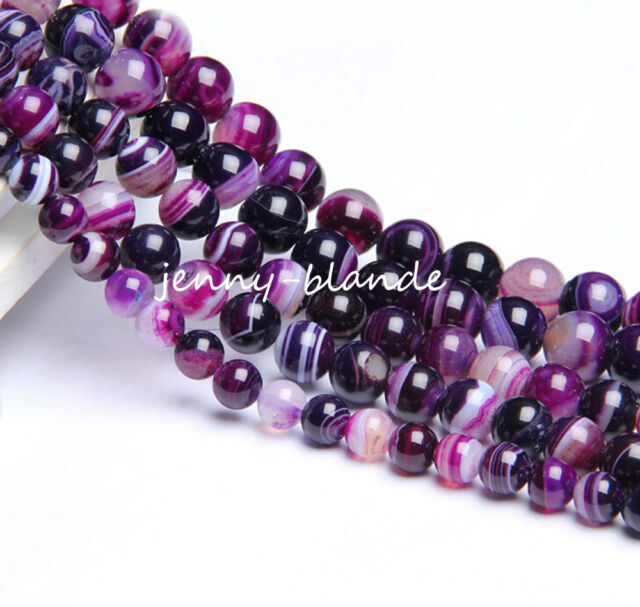 Natural Purple Striped Agate Round Gemstone Spacer Beads Craft 4/6/8/10/12mm DIY