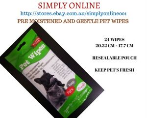 PET WIPES - Pre Moistened & Gentle Wipes - 24 Wipes - Dogs - Cats - BODY WIPES