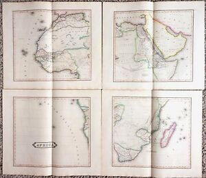 HUGE-Antique-AFRICA-Map-1831-Rare-Four-Sheet-Edinburgh-38x44-Fine-Engraved