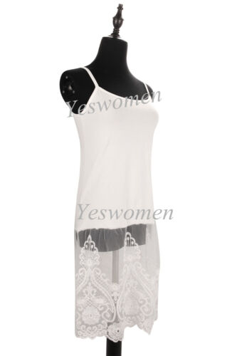 Camisole Lace Top Shirt Extender Adjustable Long Lace full slips Cami Tank Tops