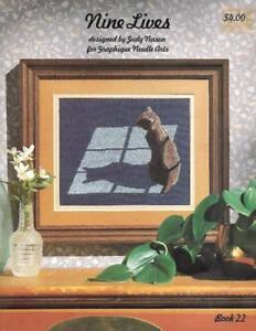 Nine-Lives-CATS-in-Counted-Cross-Stitch-Vintage-1983-Graphique-Needle-Arts