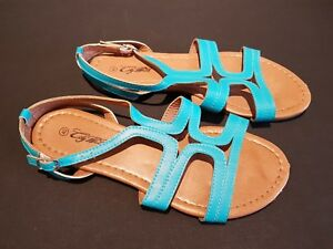 49cad05a8 City Walk size 7 (40) turquoise faux leather buckle strap sandals ...