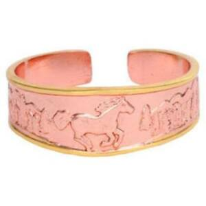Solid-Copper-Ring-Horse-Gold-Handmade-Western-Style-Jewelry-Etched-Design-Band