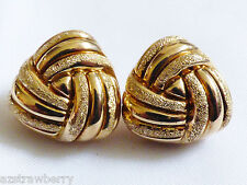Gold plate on Sterling Silver 925 Knot Ribbed earrings made in Italy