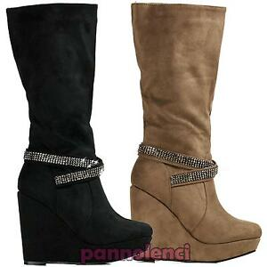 Stivaletti-donna-stivale-stivali-scamosciati-strass-scarpe-zeppa-nuovi-DZX1108