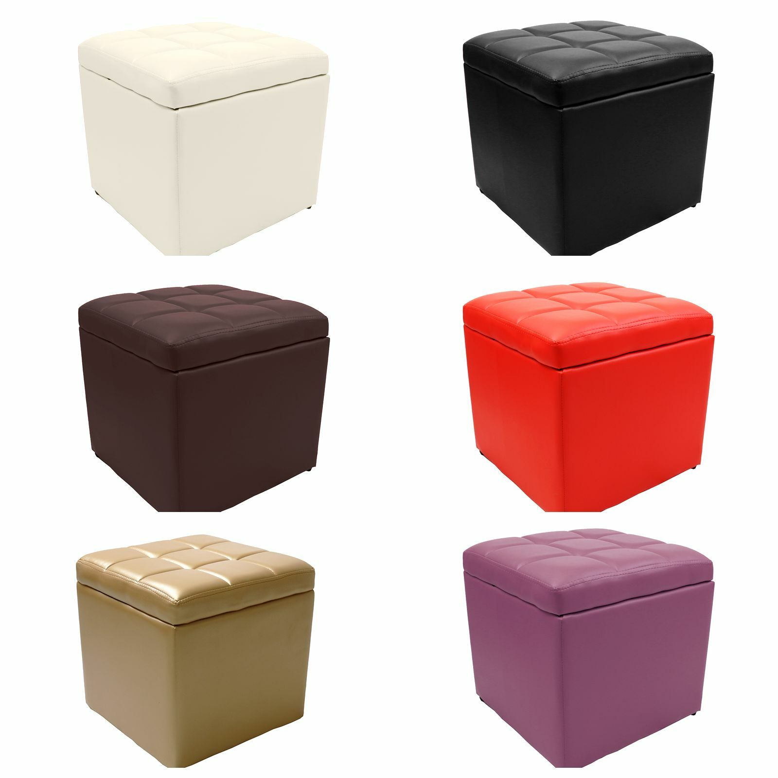 Strong Unfold Leather Storage Ottoman Bench Footstool Seat Table Cocktail Square Ebay